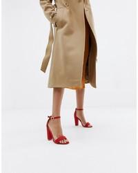 rote Leder Sandaletten von Glamorous