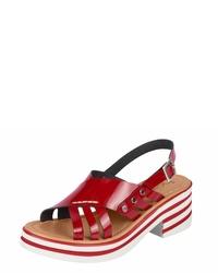 rote Leder Sandaletten von Heine