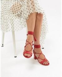 rote Leder Sandaletten von Missguided