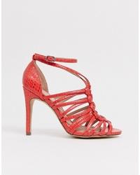 rote Leder Sandaletten von New Look