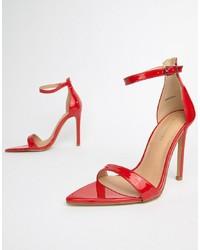 rote Leder Sandaletten von Public Desire