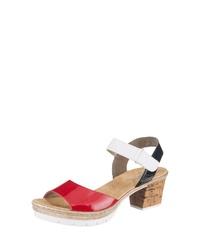 rote Leder Sandaletten von Rieker
