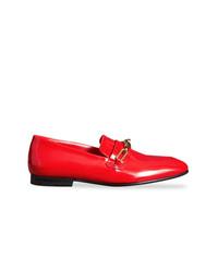 rote Leder Slipper von Burberry