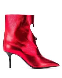 rote Leder Stiefeletten mit Ausschnitten von MSGM