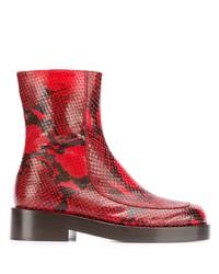 rote Leder Stiefeletten mit Schlangenmuster von Marni