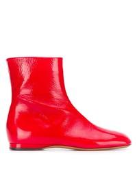 rote Leder Stiefeletten von Marni