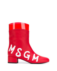 rote Leder Stiefeletten von MSGM