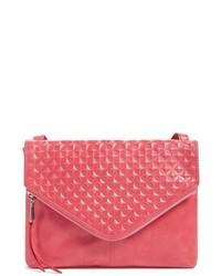 rote Leder Umhängetasche mit geometrischen Mustern
