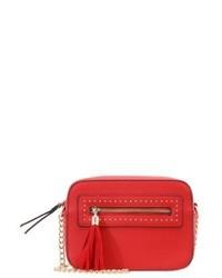 Rote Leder Umhängetasche von Miss Selfridge
