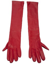 rote Lederhandschuhe von Lanvin