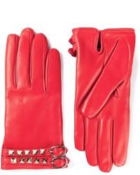 rote Lederhandschuhe von Valentino Garavani