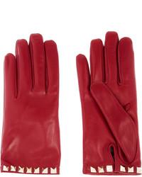 rote Lederhandschuhe von Valentino