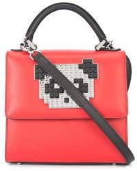 rote Lederhandtasche von Les Petits Joueurs