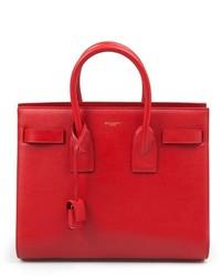 rote Lederhandtasche von Saint Laurent