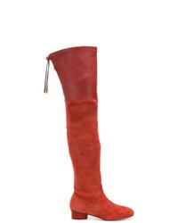 rote Overknee Stiefel aus Wildleder von Stuart Weitzman
