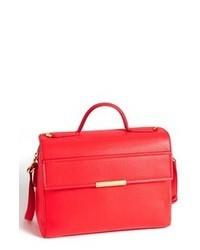 rote Satchel-Tasche aus Leder