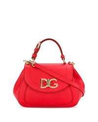 rote Satchel-Tasche aus Leder von Dolce & Gabbana