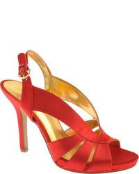 rote Satin Sandaletten