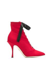 rote Schnürstiefeletten aus Leder von Dolce & Gabbana