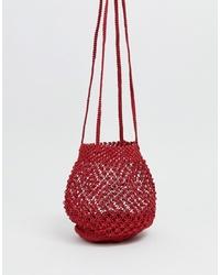 rote Segeltuch Umhängetasche von Mango