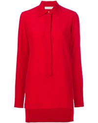 rote Seide Bluse von Victoria Beckham