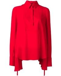 rote Seide Langarmbluse von Alexander McQueen