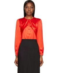 rote Seide Langarmbluse von Givenchy
