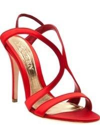 rote Seide Sandaletten von Alexander McQueen