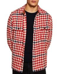 rote Shirtjacke mit Hahnentritt-Muster