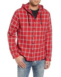 rote Shirtjacke mit Schottenmuster