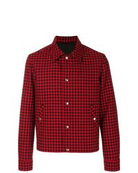 rote Shirtjacke mit Schottenmuster von AMI Alexandre Mattiussi