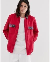 rote Shirtjacke von ASOS DESIGN