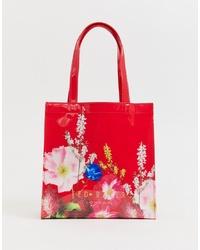 rote Shopper Tasche aus Leder mit Blumenmuster von Ted Baker