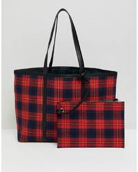 rote Shopper Tasche aus Leder mit Schottenmuster von Stradivarius