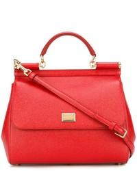 rote Shopper Tasche aus Leder von Dolce & Gabbana