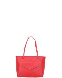 rote Shopper Tasche aus Leder von Lancaster