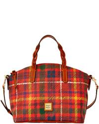 rote Shopper Tasche aus Segeltuch mit Schottenmuster