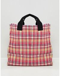 rote Shopper Tasche aus Segeltuch mit Schottenmuster von Mango
