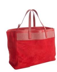 rote Shopper Tasche aus Wildleder