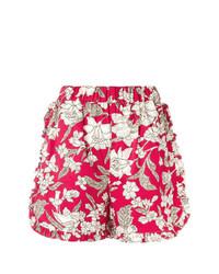 rote Shorts mit Blumenmuster von La Doublej