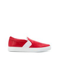 rote Slip-On Sneakers aus Leder von Lanvin