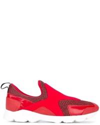 rote Slip-On Sneakers aus Leder von MM6 MAISON MARGIELA