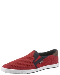 rote Slip-On Sneakers aus Segeltuch von Tom Tailor