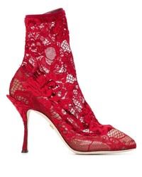 rote Spitze Stiefeletten von Dolce & Gabbana