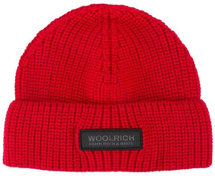 rote Strick Mütze von Woolrich