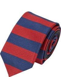 rote und dunkelblaue horizontal gestreifte Krawatte