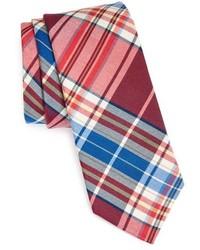 rote und dunkelblaue Krawatte mit Schottenmuster