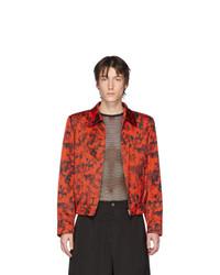 rote und schwarze bedruckte Harrington-Jacke von Dries Van Noten