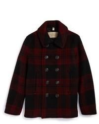 rote und schwarze Cabanjacke mit Vichy-Muster