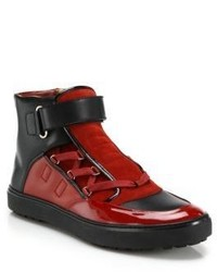 Rote und schwarze Hohe Sneakers von Bally